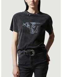 The Kooples Graphic-print Cotton-jersey T-shirt - Black