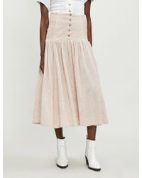 Free People - Ocean Eyes Cheesecloth Maxi Skirt - Lyst