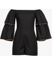 Never Fully Dressed Off-the-shoulder Wide-leg Cotton Playsuit - Black