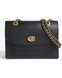 COACH Parker Leather Shoulder Bag - Black