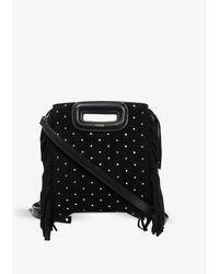 Maje Mini M Leather Bag - Black