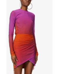 Fenty Striped Loose-fit Stretch-mesh Top - Red