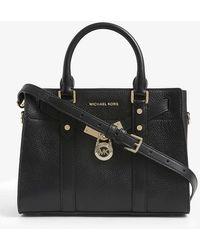 MICHAEL Michael Kors Nouveau Hamilton Leather Satchel Bag - Black