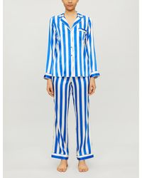YOLKE Striped Stretch-silk Pajama Set - Black