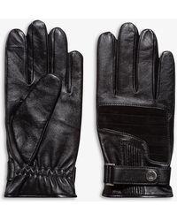 HUGO Cashmere-lined Leather Gloves - Black