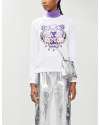 KENZO Tiger-embroidered Cotton-jersey Sweatshirt - White