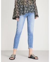PAIGE Hoxton Frayed-hem Ultra-skinny High-rise Jeans - Blue