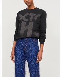 Fyodor Golan - Glitter Text-print Cotton-blend Sweatshirt - Lyst