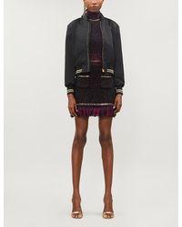 Versace Medusa-embroidery Cropped Satin Bomber Jacket - Black