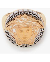 Versace Medusa Yellow-gold And Silver-toned Brass Signet Ring - Metallic