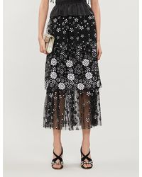 Self-Portrait Sequin-embellished Tulle Midi Skirt - Black