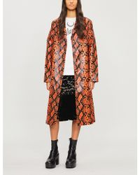 Jaded London - Snakeskin-print Pvc Coat - Lyst