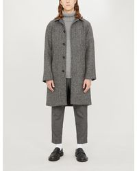 Sandro Herringbone Raglan-sleeved Wool-blend Coat - Gray