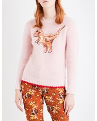 COACH Ladies Embellished Iconic Rexy Wool Sweater - Pink