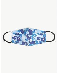 A Bathing Ape Camouflage-print Woven Face Covering - Blue