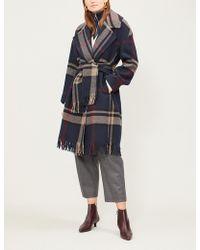 Max Mara - Pioggia Checked Wool Coat - Lyst