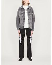 Palm Angels Logo-print Faded-wash Denim Jacket - Black