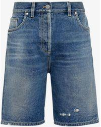 Prada Distressed Low-rise Organic-cotton Denim Shorts - Blue