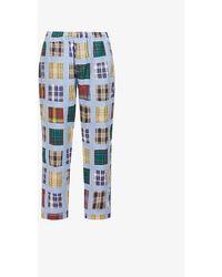 Stussy Womens Plaid Madras Patchwork Wide-leg High-rise Cotton Pants L - Blue