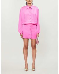The Attico Collared Satin Mini Shirt Dress - Pink