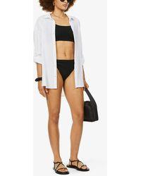 Cleonie Swim Finn Mini Brief High-rise Recycled-blend Bikini Bottoms - Black