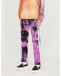 Palm Angels Logo-print Tie-and-dye Velvet Tracksuit Bottoms - Purple