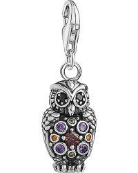 Thomas Sabo Charm Club Sterling Silver Multistone Owl Charm - Metallic