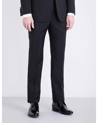 Richard James Regular-fit Tapered Mid-rise Wool And Mohair-blend Trousers - Black