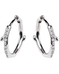 Shaun Leane - Cherry Branch Silver And Diamond Hoop Earrings - Lyst