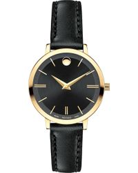 Movado - 0607095 Ultra Slim Yellow-gold Pvd Stainless Steel And Leather Watch - Lyst