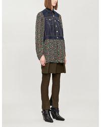 Junya Watanabe Floral-print Denim And Rayon Jacket - Blue