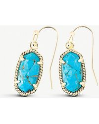 Kendra Scott - Lee 14ct Gold And Veined Turquoise Earrings - Lyst