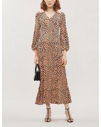 RIXO London - Piper Leopard-print Silk-blend Midi Dress - Lyst