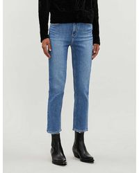 PAIGE Sarah Cropped Straight High-rise Jeans - Blue