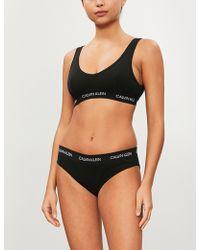 6777548fe8e Lyst - Calvin Klein Reversible Black Statement Bralette in Black