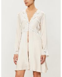 Nk Imode Paola Floral-lace Trimmed Satin Robe - Natural