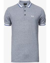 BOSS by Hugo Boss Logo-embroidered Slim-fit Cotton-piqué Polo Shirt - Blue