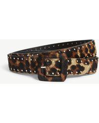 The Kooples - Leopard Print Studded Leather Belt - Lyst