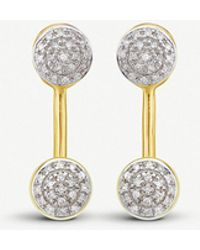 Monica Vinader - Fiji Mini Button 18ct Gold Vermeil And Diamond Jacket Earrings - Lyst