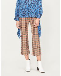 Kitri - Lexi Cropped High-rise Checked Crepe Flared Trousers - Lyst