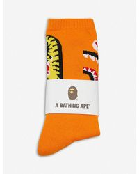A Bathing Ape 2nd Shark Cotton-blend Ankle Socks - Orange
