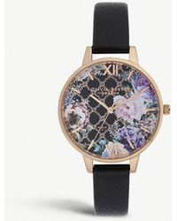 Olivia Burton - Ob16gh11 Glasshouse Rose-gold Plated Stainless Steel And Leather Watch - Lyst