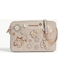 6697d1de77ac MICHAEL Michael Kors - Metallic Floral Large Leather Cross-body Bag - Lyst