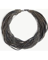 Brunello Cucinelli - Layered Leather And Metal Necklace - Lyst