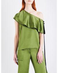 Hellessy One-shoulder Layered Silk-satin Top Leaf Green