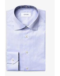Eton Contemporary-fit Cotton-poplin Shirt - Blue