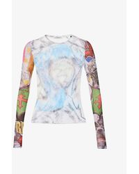 Our Legacy Abstract-print Round-neck Mesh Top - Multicolor