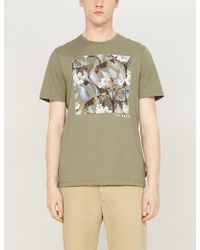 dc0975fa689b Ted Baker - Forge Leopard And Foliage Graphic Cotton-jersey T-shirt - Lyst