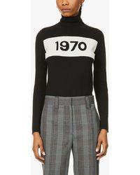 Bella Freud 1970-intarsia Turtleneck Wool Jumper - Black