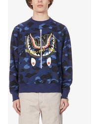 A Bathing Ape Mens Navy Ponr Camo-print Cotton-jersey Sweatshirt L - Blue
